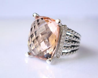 Pre- Owned David Yurman Wheaton Ring 20x15mm Morganite and DIAMONDS RING Size 9