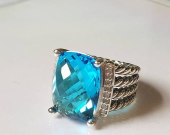 David Yurman Wheaton Ring 16x12mm Blue Topaz and DIAMONDS RING Size 7