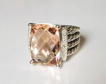 Pre- Owned David Yurman Wheaton Ring 16x12mm MORGANITE and DIAMONDS RING Size 6.5