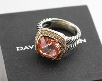 Used PreOwned David Yurman Albion MORGANITE and DIAMONDS Rose GOLD Ring Size 7