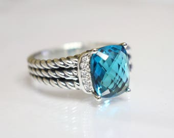 Used David Yurman 10x8 mm  Hampton Blue TOPAZ & DIAMOND Wheaton Ring Size 6
