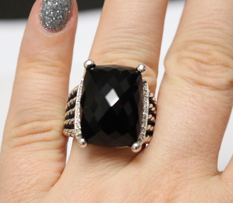e8a2024d229ea Pre Owned David Yurman Wheaton Ring 20x15mm Black Onyx and