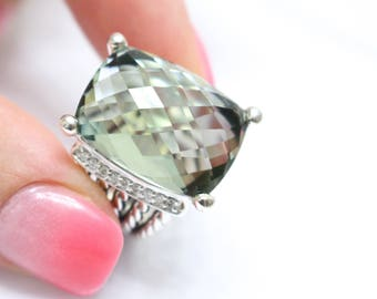 Pre- Owned David Yurman Wheaton Ring 20x15mm Prasiolite and DIAMONDS RING Size 8