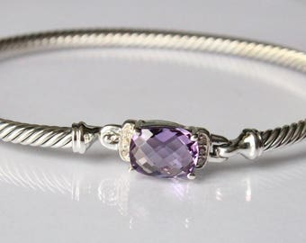 Vintage David Yurman Petite Wheaton Bracelet with Amethyst and Diamonds 3mm Hook clasp