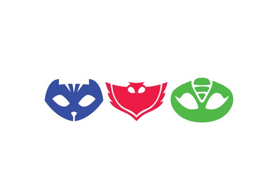 Pj Masks Icons Vinyl Sticker Set In Color Cat Boy Owlette Etsy