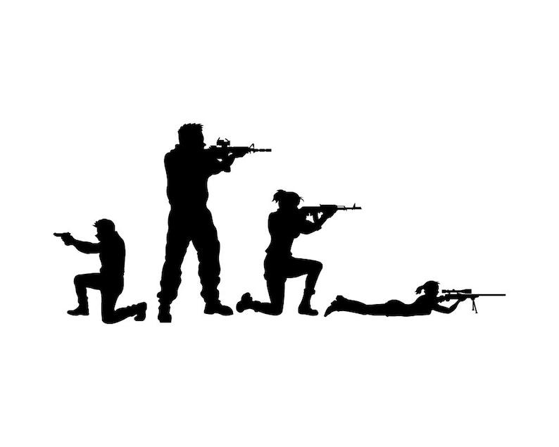 6/'/' or 8/'/' 3/'/' Sniper Soldier Silhouette Car Bumper Sticker Decal 5/'/'