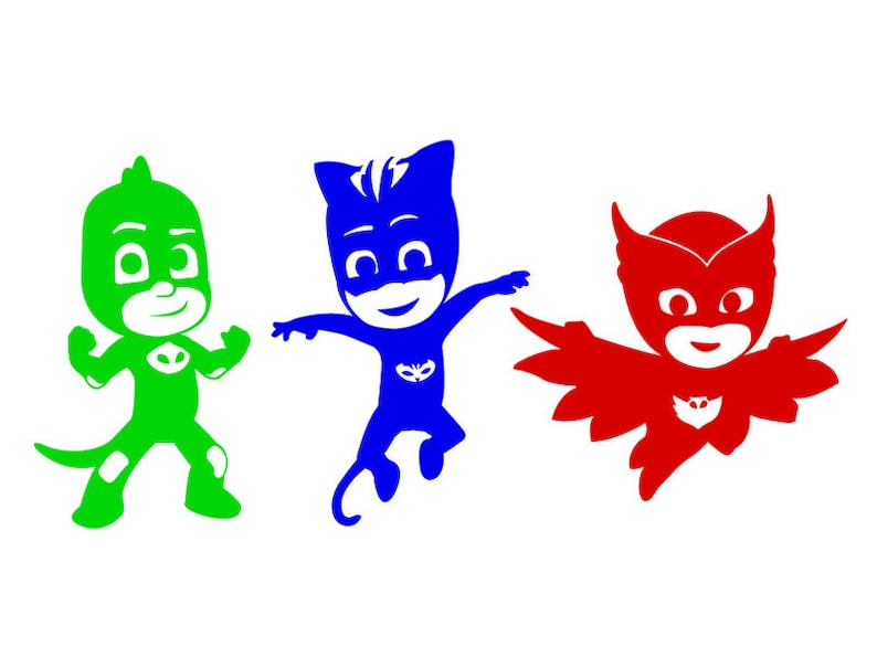 pj masks vinyl sticker set in color. cat boy owlette and | etsy