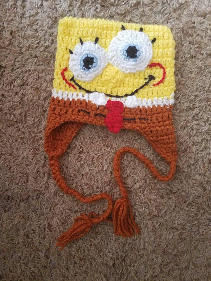 Kids Spongebob Squarepants Crocheted Hat Etsy