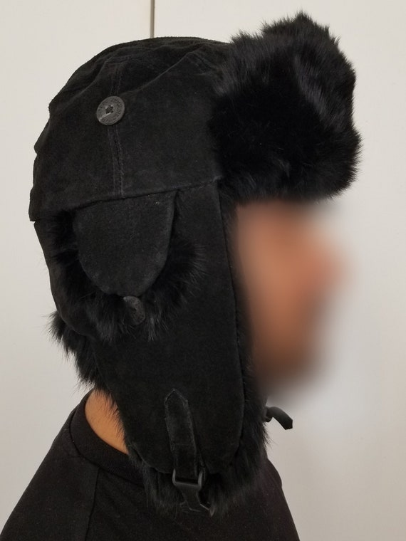 Womens Ivory Corduroy /& Faux Fur Aviator Style Trapper Hat