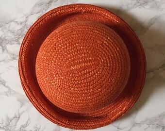 persimmon orange bowler hat / straw bowler sun hat