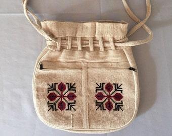 linen woven bag | drawstring purse | embroidered bag