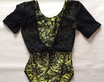 mesh top maillot   surf swimsuit   neon green geometric   90s one piece maillot