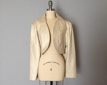 pale gold leather jacket | oversized leather blazer | cropped leather jacket