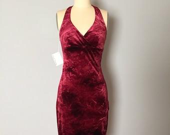 MARBLED RUBY velvet mini dress | long back assimetrical dress | 1990s halter open back ruby dress | S