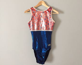 Stars and Stripes bodysuit    shiny dance or exerscise leotard