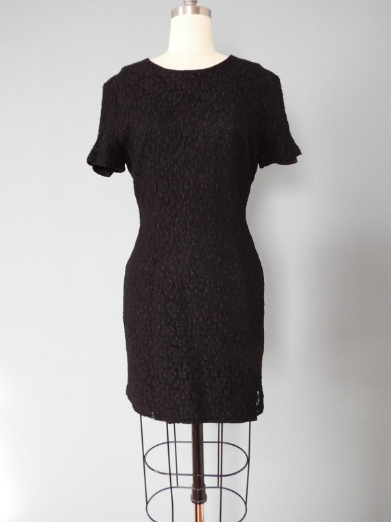 BLACK lace mini dress | little black dress - image 3