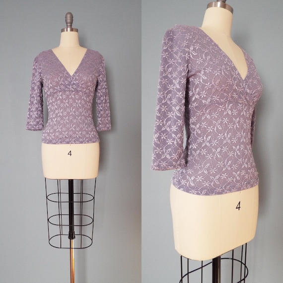 LILAC lace top | wrap front top | fitted waist top