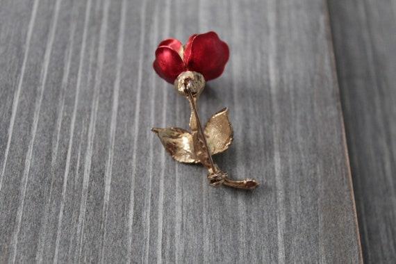 RED rose brooch   1980s rose brooch   rose poet b… - image 8