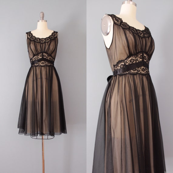 1950s slip dress | black mesh lace dress | tie bac