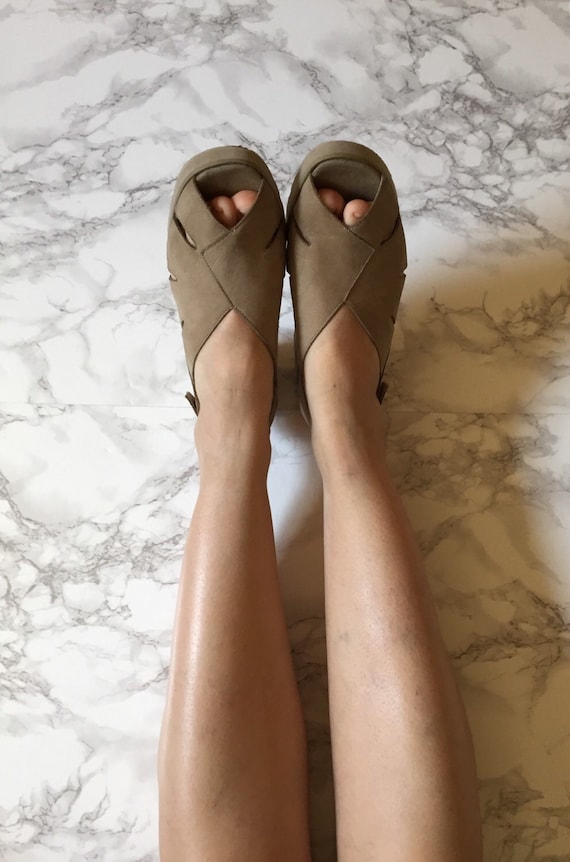 nude 5 out 9 sling toe leather olive sandals sandals pip 1970s cut green back 07qERzOqwn