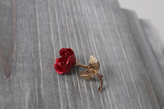 RED rose brooch   1980s rose brooch   rose poet b… - image 6