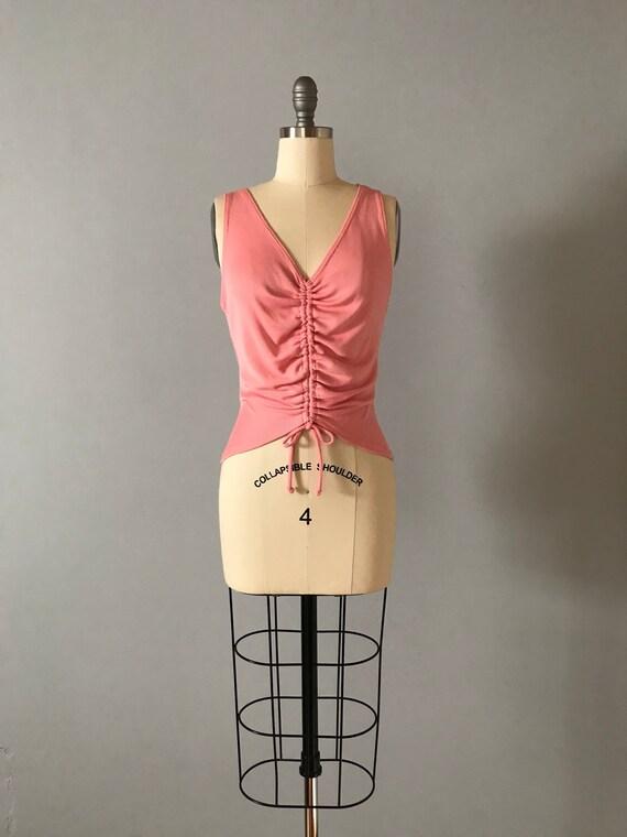 9bf097699a542 PARIS pink top tie front crop top