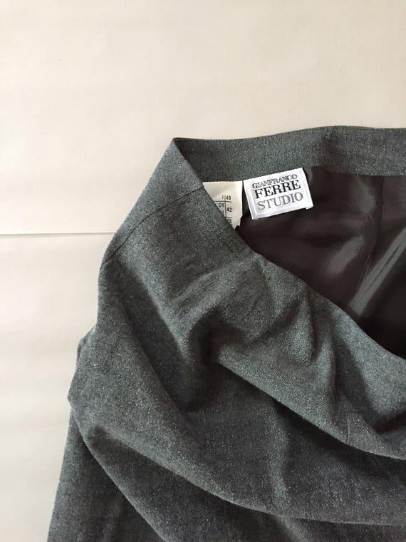 GIANFRANCO FERRE metallic gray skirt / 1990s desi… - image 2