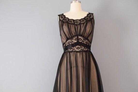 1950s slip dress tie back bow ribbons dress black mesh lace dress