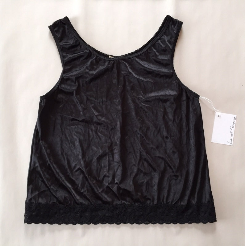 a663704322a5c Black velvet crop top lace camisole tank top