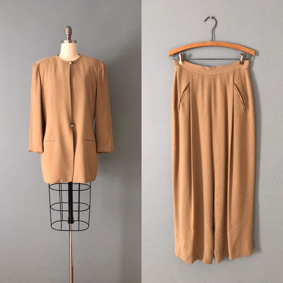 Emanuel Ungaro pant suit | almond brown suit | 199