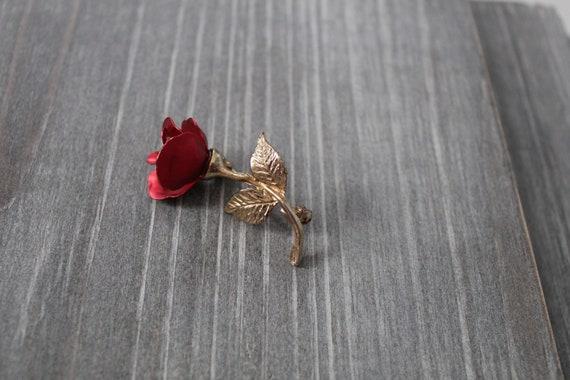 RED rose brooch   1980s rose brooch   rose poet b… - image 4