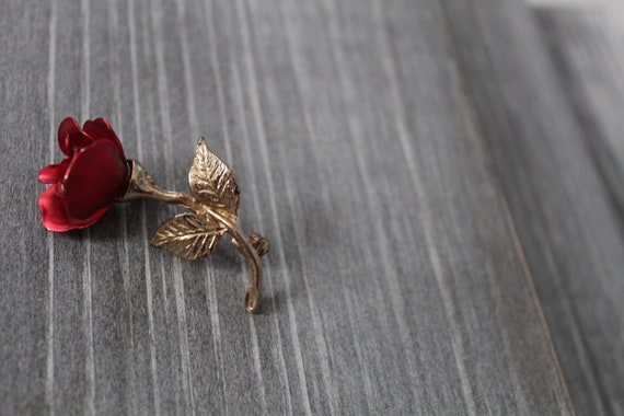 RED rose brooch   1980s rose brooch   rose poet b… - image 7