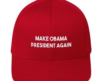 2ffc1f56517 Make Obama President Again Hat - Ballers HBO Flexfit Funny Trump Hat Obama  Hat - Politics Fitted Structured Twill Cap