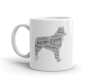 Personalized Border Collie Mug Featuring Character Traits such as; Responsive, Keen, Alert, Herding and more! Add your Border Collies Name o