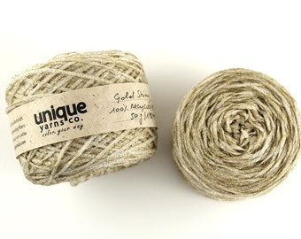 PET Recycled Yarn made from plastic bottles, Reclaimed Yarn hand dyed in gold