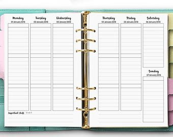 PRINTED Dated Weekly Planner, WO2P,  Printed Planner Inserts, Week On 2 Pages, A5 Planner Inserts - DATED Weekly Inserts [A5CA-012]