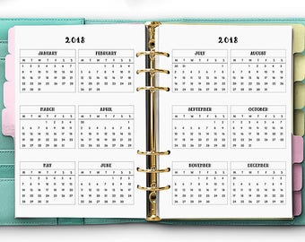 Yearly Planner Inserts - PRINTED Year on Two Page - A5 Planner Refill - Yearly Planner - Large Kikki-K Filofax YO2P [A5CA-017]