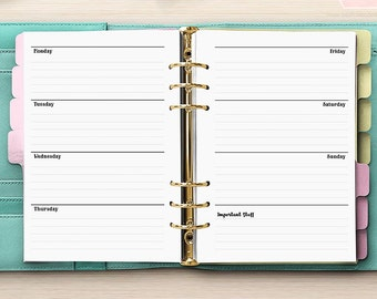 Week On Two Pages Planner - Weekly Planner Horizontal - PRINTED Week On Two Pages - A5 Planner - Undated - Kikki-K Filofax WO2P [A5CA-04]
