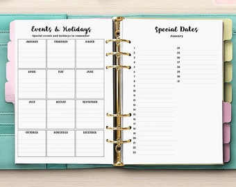 Perpetual Planner Calendar - Birthday & Anniversary Planner Inserts - PRINTED - A5 Planner Refill Inserts - Large Kikki-K Filofax [A5CA-018]