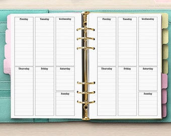 Week Planner On One Page - PRINTED A5 Planner Inserts - Undated Week On 1 Page - Vertical Week On One Page - Kikki-K Filofax WO1P [A5CA-02]
