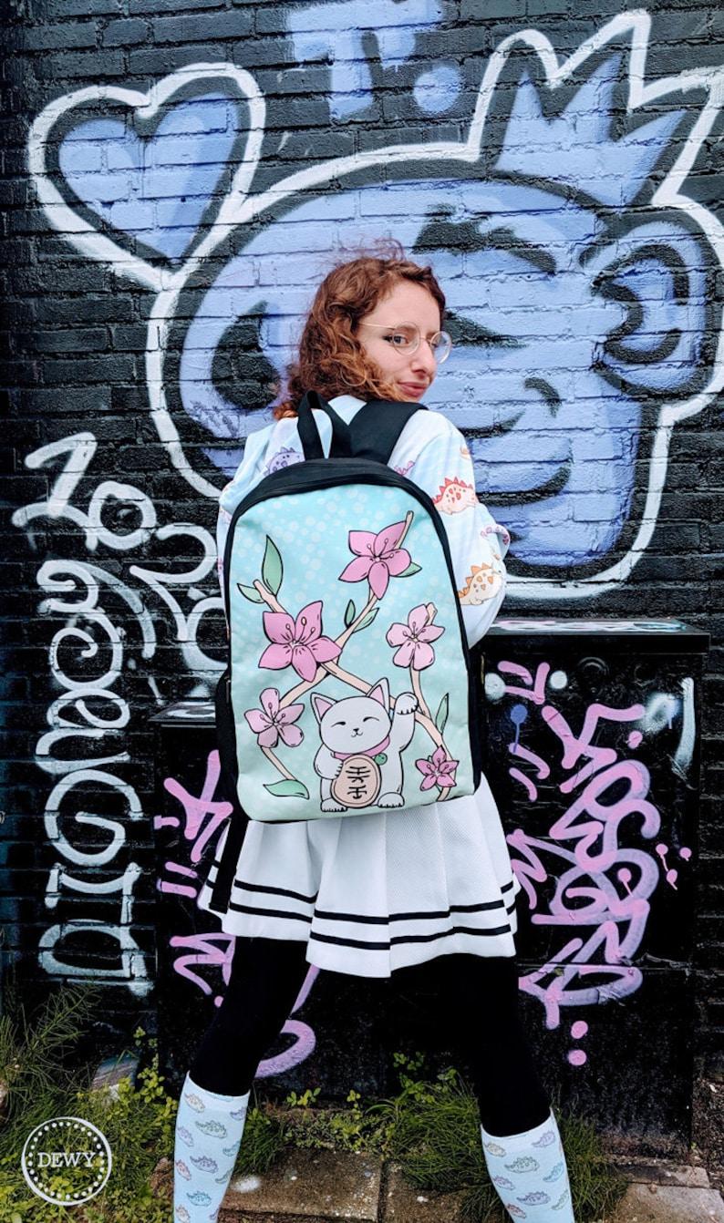 cat pastel bag yume kei maneki neko alternative J-fashion fairy Decora kawaii cute Lucky cat backpack lolita Harajuku Japan