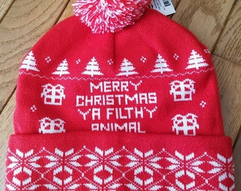 Merry Christmas Ya Filthy Animal Home Alone Mens Beanie Winter Stocking Hat  Pom 1af7e67bf37