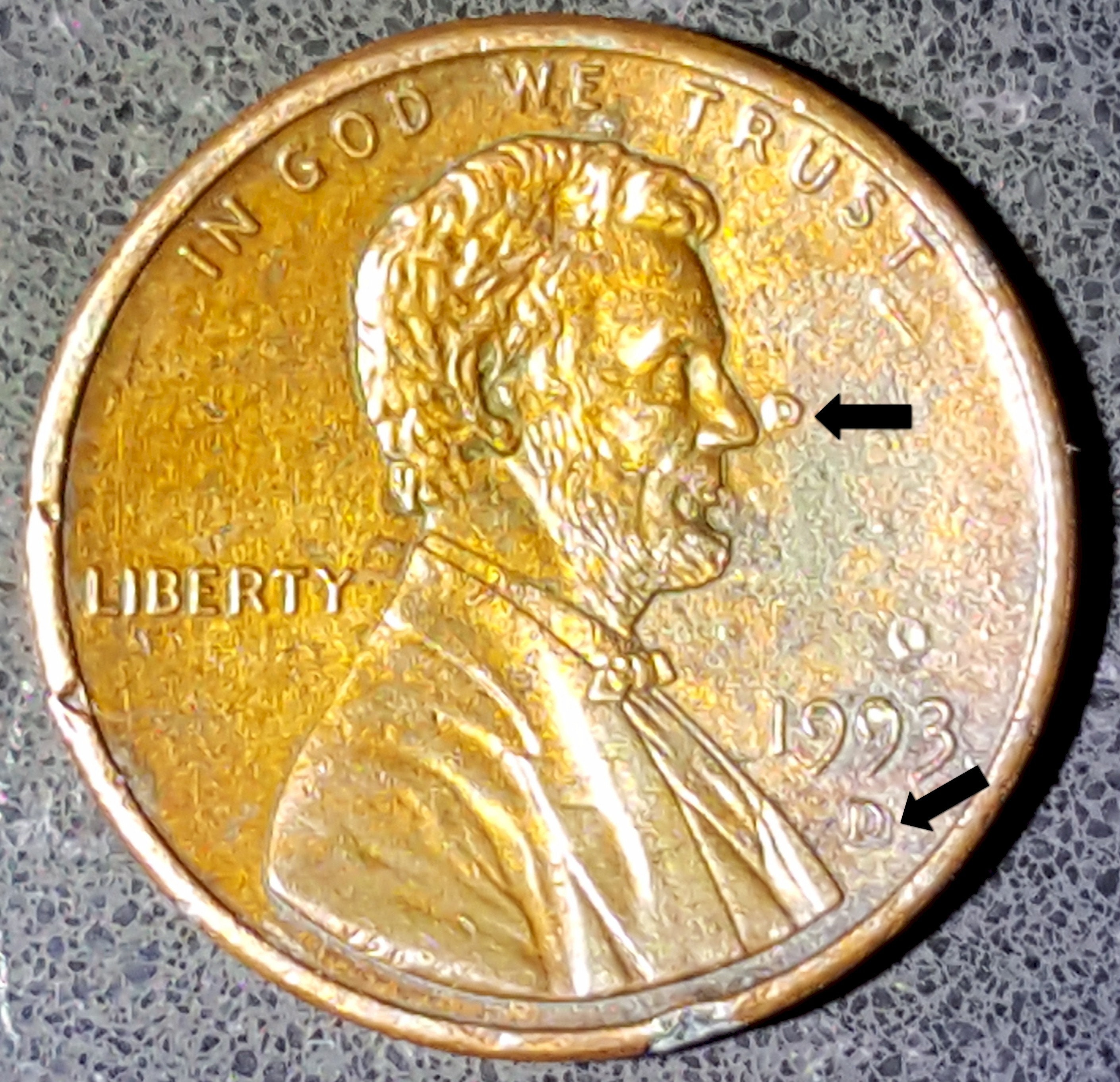 1993-D Error D Over D with Two D Mint Mark On USA Lincoln ...