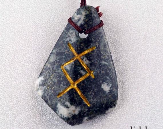 INGUZ Gold Rune Sign PRESELI BLUESTONE Pendant Necklace  .....#2503