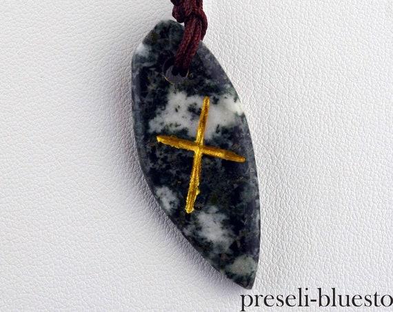 GEBO Handcarved Gold Rune Sign PRESELI BLUESTONE Pendant Necklace  .....#0703