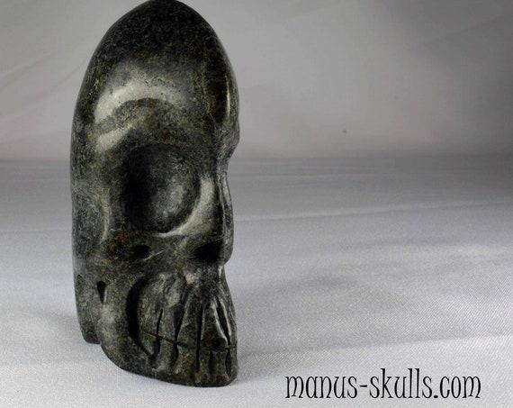 Rare Elongated Un-Spotted PRESELI BLUESTONE Skull (#937)
