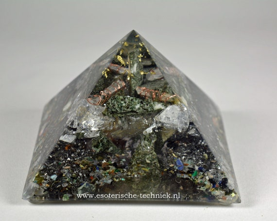 Orgonite Pyramid with Gold Leaf, Preseli Bluestone