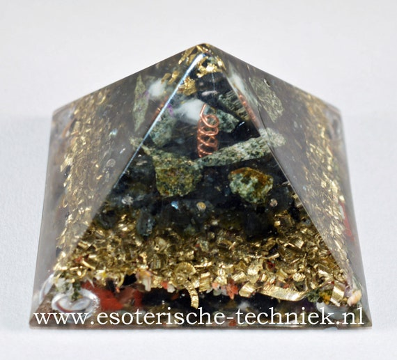 Orgonite Pyramid with Gold Leaf, Preseli Bluestone, Larvikite