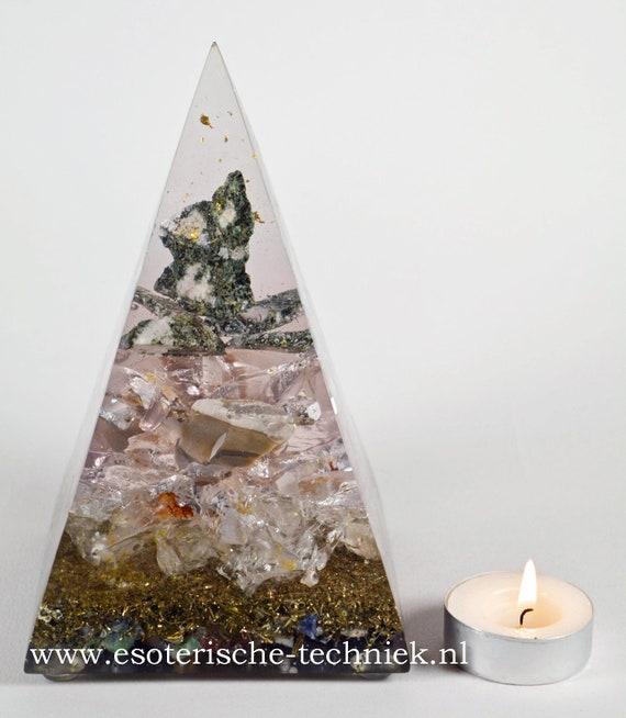 Orgonite Pyramid with Gold Leaf, Preseli Bluestone, Flint, Arkansas clear crystal