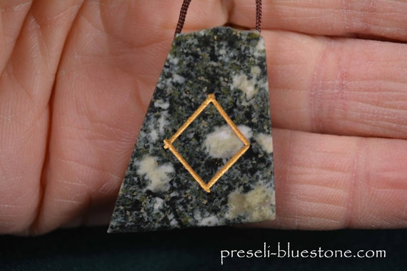 INGUZ  Gold Rune Sign PRESELI BLUESTONE Pendant Necklace .....#1601